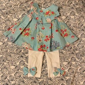 NWT Baby Girl Floral Bows Outfit, 0-3 mos